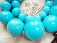 VINTAGE ART DECO HEAVY CHUNKY GRADUATED TURQUOISE GLASS Beads NECKLACE FAB CLASP