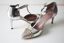 Gucci 370808 Pumps COLINE STUD T-Strap LEATHER SILVER METAL Gr.37