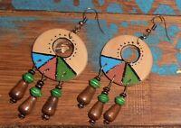 Handmade Boho Ethnic Hippie Retro Beads Hand-Painted Wooden Dangle Gift Earrings
