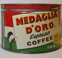 Vtg 1950s MEDAGLIA D'ORO GRAPHIC KEYWIND COFFEE TIN ONE POUND PALISADES PARK NJ