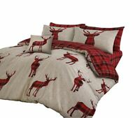 PLAID TARTAN CHECK STAGS RED BEIGE COTTON BLEND DOUBLE 4 PIECE BEDDING SET