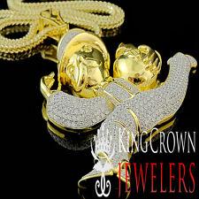 Big XL Yellow Gold Silver Monopoly Money Guy Lab Diamond Pendant + Franco Chain