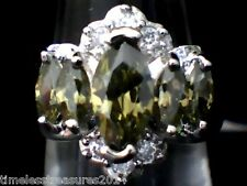 """""""BEAUTIFUL"""" Olive Peridot and Austrian Crystals 18 Kt White Gold Filled Size 7"""