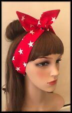 Rojo Blanco Estrellas USA Diadema Bandana Pañuelo Cabeza Cinta para el pelo vincha Corbata una tela blanca