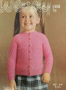 "wendy  4ply Knitting Pattern Girls, Cardigan Size 20/24"" Chest.NOT COPY"