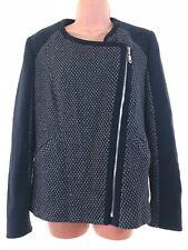 NEXT navy blue tweed zip up biker jacket coat size 12 euro 40