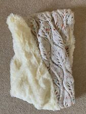 Infinity Scarf Cream Knit with colored flecks and Faux Fur Soft NEW