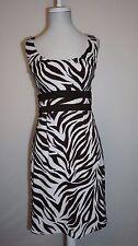 Connected apparel Brown White Zebra Print Sheath Dress Size 10