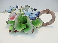 Vtg CAPODIMONTE CANDLESTICK HOLDER Porcelain Blue Pink Flowers FLORAL Italy
