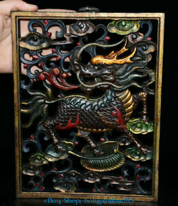 """11"""" Old Chinese Wood Painted Hand-Carved Kylin Unicorn Qilin Chi-lin thangka"""