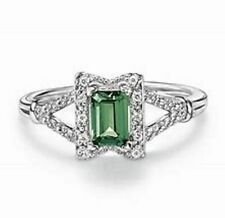 .925 Sterling Silver Simulated Emerald Ring with Cubic Zirconia's sz 9 New N Box