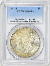 1881-S Morgan Silver Dollar PCGS MS65+, beautiful GEM. Slight amber toning (Obv)
