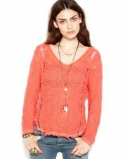 FREE PEOPLE CASBLANCA VNECK KNIT PULLOVER SWATER TOMATO S