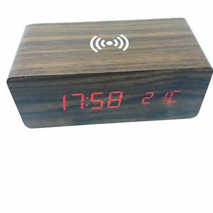 Wireless charging LED wooden digital clock + batteries