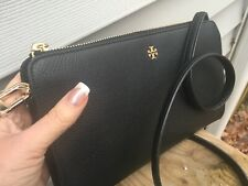 NWT Tory Burch Robinson Pebbled Leather Crossbody bag in Black