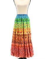 Phool Womens Rainbow Broomstick Skirt Multicolor Plus Size 2X Maxi Elastic Waist