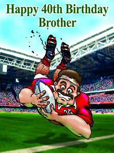 PERSONALISED WELSH RUGBY PLAYER -Humourous- GREETING CARD ANY RELATION - NX4