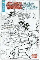 Red Sonja Vampirella Betty Veronica 1 Archie 1:10 Dan Parent BW Variant Bikini
