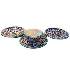 More details for augusta deruta ceramic majolica cup 3 saucers birds floral pottery italian rare
