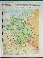 WW2 WWII MAP ~ INVASION OF POLAND 1-28 SEPTEMBER 1939 GERMAN RUSSIAN ADVANCE
