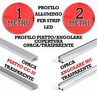 Profilo Alluminio Piatto Angolare Copertura Opaca Trasparente 1 metro o 2 metri
