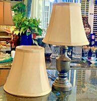 """2 LAMPSHADES OF 7"""" x 8"""" x 5"""" -  FANCY GOLD FABRIC SPECIALTY - UNO FITTED SHADES"""
