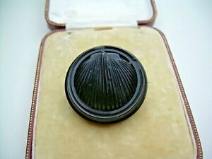Antique Victorian Natural Whitby Jet Shell Design Brooch.