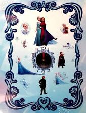 "DISNEY FROZEN 4"" WALL CLOCK w/16 stickers decal Princess Elsa Anna Olaf Kristoff"