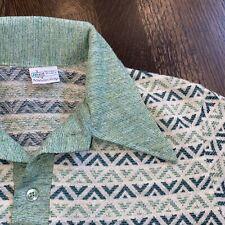 Vtg 60s 70s KMART California Shirt Mid Century Disco Polo Green Knit MENS SMALL