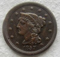 1857 1C Small Date Braided Hair Large Cent XF Detail Scratched