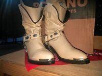 POCONO Cream Leather Children's Youth Western Kids Roper Cowboy Boots 1848-C NIB