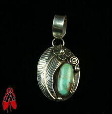 Light Green turquoise Sterling Silver pendant vintage old pawn Native jewelry