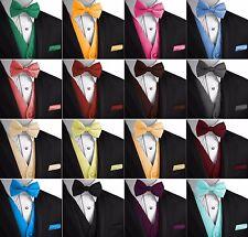 0b99066ef024 Men's Solid Satin Tuxedo Vest, Bow-Tie and Hankie Set. Formal Dress Wedding