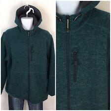 LL Bean Men's Wool Tek Hooded Jacket L Tall Slightly Fitted Fleece Lined 292157