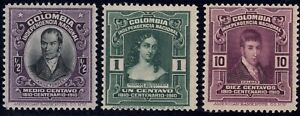 1910 Colombia SC# 331-335 - Colombia Independence Centenary - 3 Different - M-H