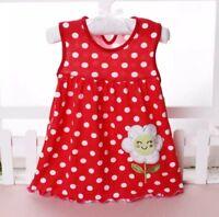 Baby Toddler Girl Cotton Dress, Floral Polka Dot Dress Sleeveless Red 12 Months