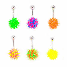 Porcupine Style Belly Button Ring Navel Piercing With Spike Silicone Ball 14g