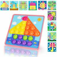 Button Art Toddler Game, Color Matching Peg Board Educational Toy, Toddler