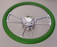 "GREEN Half Wrap 14"" BILLET Steering wheel kit with Hub adaptor & Horn Button"