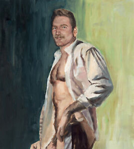 Mann Art HANDSOME NUDE MALE Original Oil Painting on Paper Gay Hairy Mustache