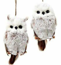 Kurt Adler White Hanging Owl Christmas Ornament Set - 2 Piece Set