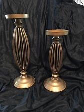 Antique Gold Colored PILLAR CANDLE HOLDER Set of 2