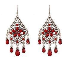 Ohrringe Ohrhänger Gothic vintage silberfarben rot Ornamente A032