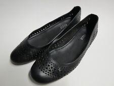 Ecco Womens Sz 41 (US 10) Black Leather Ballet Flat w/ Cutout Design