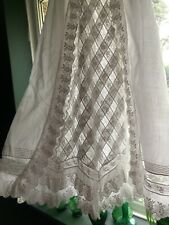 Antique Christening Baby Doll Gown Lawn White Cotton Beautiful Lace Heirloom
