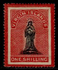 More details for british virgin islands qv sg19, 1s black & rose-carmine, m mint. cat £75.