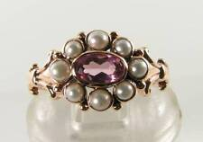 LUSH 9K 9CT ROSE GOLD PINK TOURMALINE PEARL ART DECO INS CLUSTER RING FREE SIZE