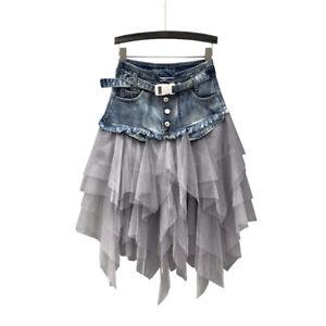 Women Denim Mesh Splice Skirt High Waist Asymmetric Frill Tulle Gothic Casual