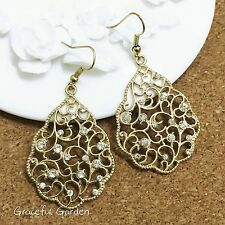 ER3035 Graceful Garden Vintage Style Golden Filigree Rhinestones Leaf Earrings