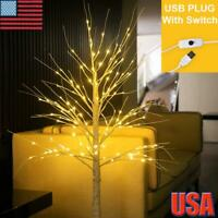 USB 60LEDs Light Up Pre Lit Birch Twig Tree Indoor Home Christmas Party Decor US